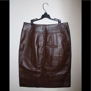 Dana Buchman Women's Brown Leather Skirt